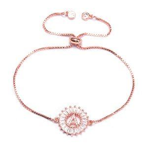 Jewelry - NEW Rose Round CZ Initial Letter Alphabet Bracelet